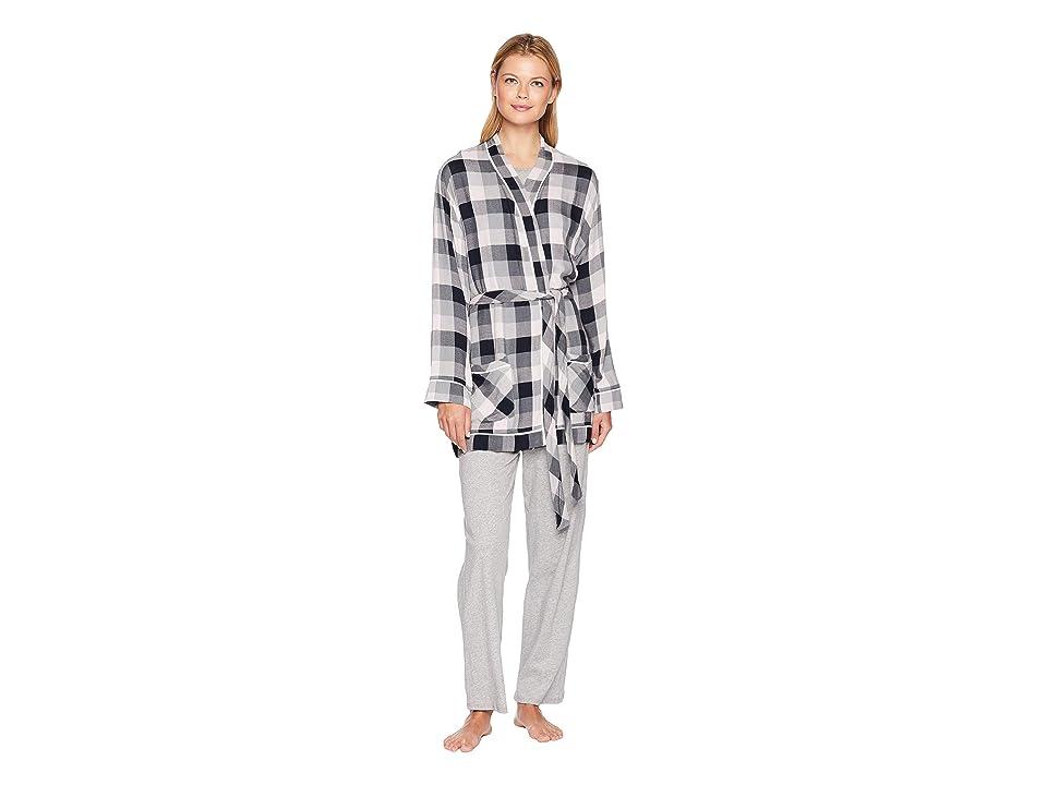 Plush Ultra Soft Plaid Robe (Grey/Pink Plaid) Women's Robe