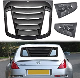 Danti Matte Black Rear and Side Window Louvers Sun Shade Cover in GT Lambo Style for 2003-2008 Nissan 350Z for 03-08 Nissan 350Z Rear & Side Windshield Louvers Cover ABS