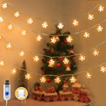 KPCB Weihnachtsbeleuchtung Weihnachtsdeko 5.9m 50 LED Snowflake with Warm Yellow Light USB Operated