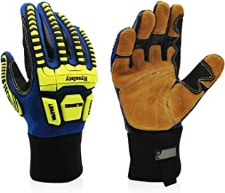 Intra-FIT Leather Oil & Gas Glove Oil and Gas/Oilfield Safety Gloves TPR knuckle and finger protection EN1621-1 …