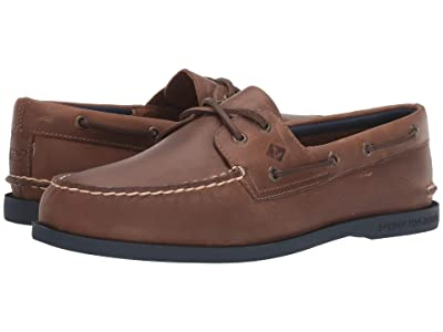 Sperry Authentic Originals 2-Eye vineyard vines Plush (Brown/Navy) Men