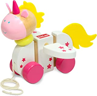 Kidzlane Wooden Unicorn Pull Toy for Toddlers   Easy-Grip Handle