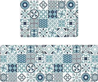 Pauwer Anti Fatigue Kitchen Floor Mat Set of 2 Non Slip Waterproof Comfort Standing Desk Mat Thick Cushioned Anti Fatigue ...