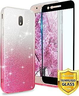 TJS Galaxy J7 2018/J7 Refine/J7 Star/J7 Eon/J7 TOP/J7 Aero/J7 Crown/J7 Aura/J7 V 2nd Gen Case, with [Full Coverage Tempered Glass Screen Protector] Two Tone Glitter TPU Paper PC Shinny Case (Pink)
