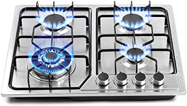 22″x20″ Built in Gas Cooktop 4 Burners Stainless Steel Stove with NG/LPG Conversion Kit Thermocouple Protection and Easy t...