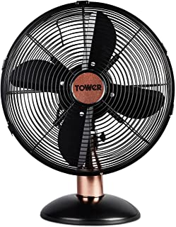 """Tower T611000B Cavaletto Metal Desk Fan with 3 Speed Settings, 12"""", 35W, Black and Rose Gold"""