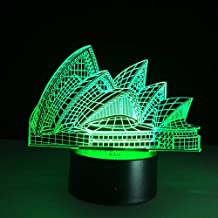 CYKEJISD Sydney Opera House 3D Led Illusion Night Light 7 Color Changing Touch Table Desk Lamp Architecture Beauty Lamp No Remote