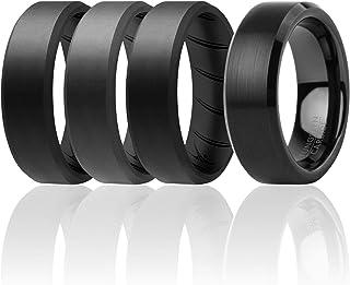 ROQ كلاسيك 8 مم من كربيد التنجستن خاتم زفاف للرجال و 3 حلقات سيليكون للعمل/الرياضة/المشي لمسافات طويلة - حواف مصقولة أعلى نمط