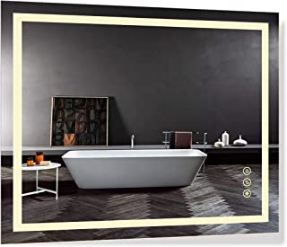 B&C 30x36 inch Super Slim Bathroom Mirror Vertical or Horizontal|LED Lighted|Polished Edge Frameless|Defogger and Dimmer with Memory|Touch Switch|Non Copper Silver Backed