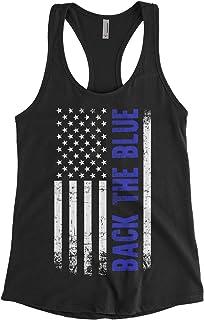 Threadrock Women's Back The Blue American Flag Racerback Tank Top