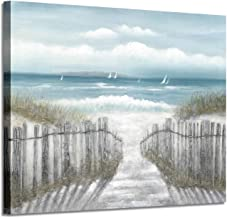 Beach Picture Coastal Wall Art: Blue Abstract Seascape Artwork Sandy Path Canvas Painting for Bedroom (24'' x 18'' x 1 Panel)