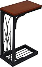 VASAGLE Snack Table Heavy-Duty Sofa Side Table for Living Room with Brown Wood Top ULNT40Z
