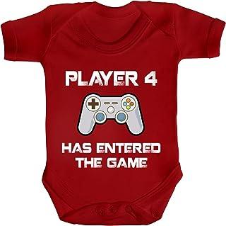 ShirtStreet Geek Nerd Strampler Bio Baumwoll Baby Body Kurzarm Jungen Mädchen Player 4 Has Entered The Game