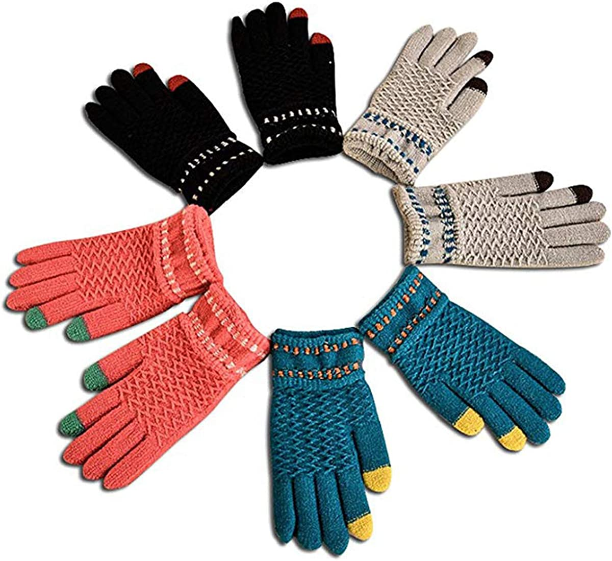 TraderPlus 4 Pairs Winter Knit Gloves Touchscreen Mittens for Women Men
