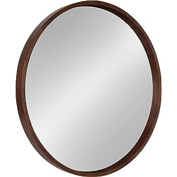 Kate and Laurel Hutton Round Decorative Wood Frame Wall Mirror, 30 Inch Diameter, Walnut