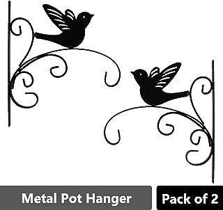 Sharpex Wall Bracket Hanger for Garden Pots, Hanging Flower Pots, Flower Shape Bird Shape Bracket Hanger - Black (Set of 2)