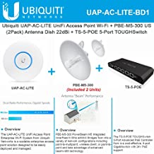 Ubiquiti UAP-AC-LITE- UniFi Access Point +PBE-M5-300 US 2Pack Antenna Dish 22dBi