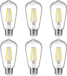 Ascher Vintage LED Edison Bulbs, 6W, Equivalent 60W, High Brightness, Warm White