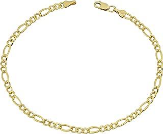 KoolJewelry Men's 14k Yellow Gold Filled 3.3mm 4.2mm 5.2mm 6mm 7.8mm 8.6mm Solid Figaro Link Bracelet