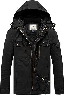 WenVen Men's Warm Zip Pocket Cotton Quilted Jacket with Hood