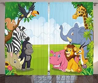 Ambesonne Animal Curtains, Kids Design Children Nursery Room Safari Themed Cartoon Animals Image Artwork Print, Living Room Bedroom Window Drapes 2 Panel Set, 108