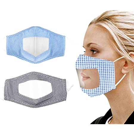 Visible Expression for Adults Indoors and Outdoors Also for Deaf and Hard of Hearing People Face Bandanas with Clear Window THENIN9 4Pcs Reusable and Washable