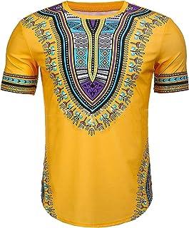 FSSE Men's Slim Ethnic Style African Print Dashiki Short Sleeve T-Shirts