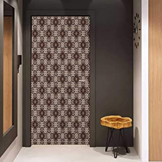 Onefzc Soliciting Sticker for Door Tan and Brown Checkered Rhombus Pattern with Little Blossoming Daisies Geometric and Floral Mural Wallpaper W23.6 x H78.7 Multicolor