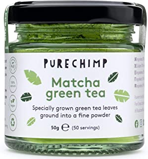 Matcha Green Tea Powder 50g(1.75oz) by PureChimp | Ceremonial Grade from Japan | Pesticide-Free | Recyclable Glass Jars & Aluminium Lid (Regular)