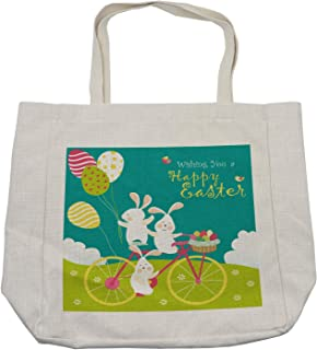 Lunarable Easter Shopping Bag, Bunnies on Bike with Balloons and Eggs on a Hill with Clouds Cartoon, Eco-Friendly Reusable Bag for Groceries Beach and More, 15.5