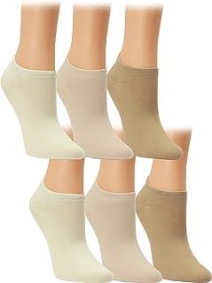Calcetines tobilleros de señora algodón sin costura unicolor, invisibles, lote de 6 o 12 unidades
