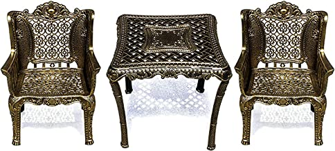 Three-Piece Leisure cast Aluminum Table and Chair Set for Balcony, Garden and Garden European-Style Coffee Table Furniture...