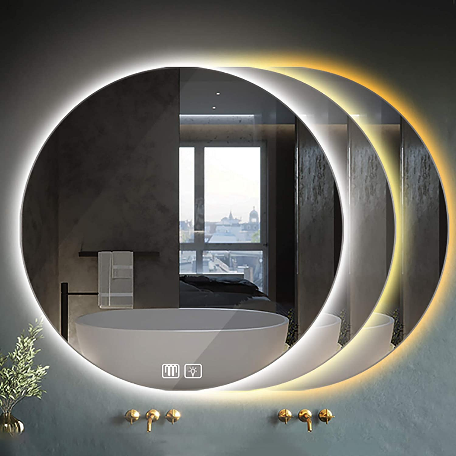 Carb Modern Manufacturer OFFicial shop Round Illuminated LED Dimming Bathroom with A surprise price is realized Mirror