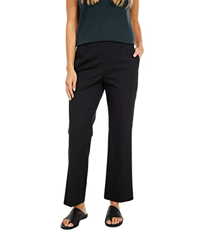 Eileen Fisher Organic Cotton Stretch Twill High-Waisted Cropped Pants (Black) Women