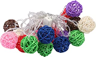 Christmas Decoration Lights 20 LED Warm Color Rattan Ball String Lights for Indoor,Outdoor,Curtain,Patio,Party (Colorful) ...