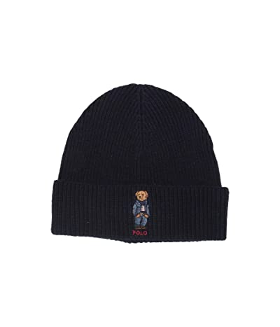 Polo Ralph Lauren Jean Jacket Sweater Bear Cuff Hat (Hunter Navy) Caps