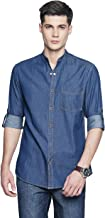 OJASS Men's Solid Casual Blue Shirt
