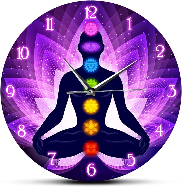 ZWYY Home Decor Yoga Pattern Wall Wa Max 68% OFF Inch Fees free!! Acrylic 12 Round Clock