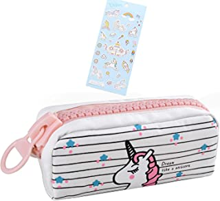 Unicorn Cute Pencil Case for Girls, Kids Makeup Bag and Pencil Bags with Large Zipper, Pen Pencil Pouch for School/Office, Pen Box Case Stationery Organizer (White)