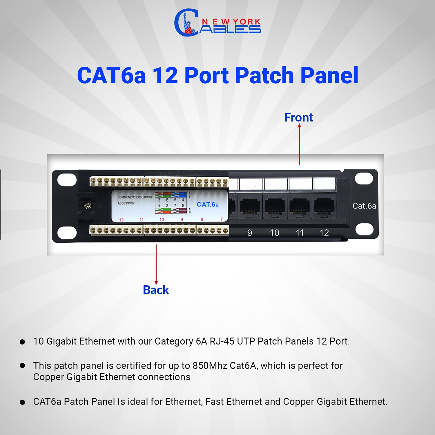 NewYorkCables12 Port Cat6A Patch Panel with Back Bar, Cable Ties & Screws   1U Rackmount or Wall Mount Ethernet Punch Panel   10 Inch, Horizontal   (RJ45 Network Patch Panel)