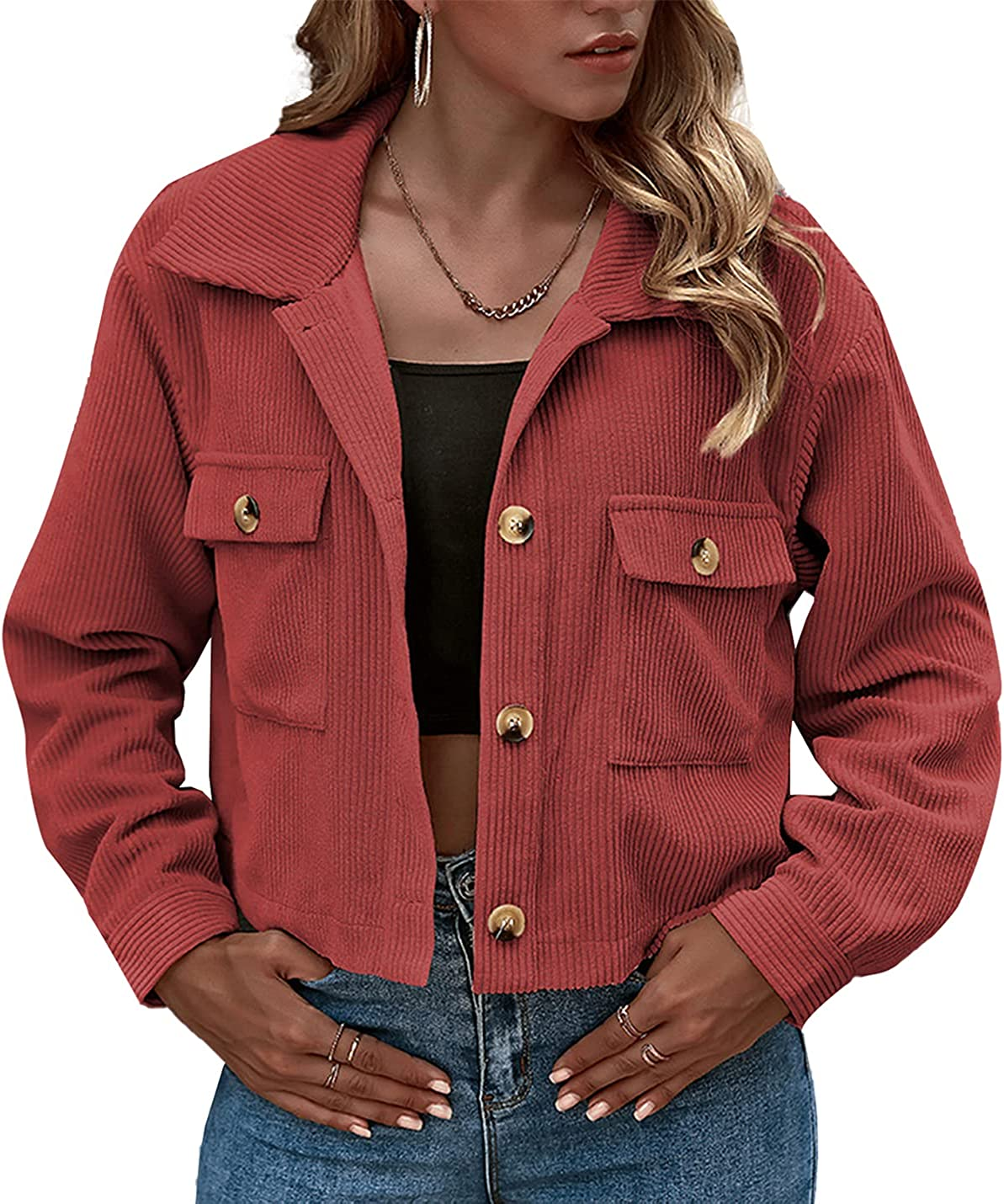 PEHMEA Women's Casual Long Sleeve Drop Shoulder Button Up Cropped Corduroy Jacket Coat