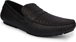 Longwalk Men's Solid Pattern Black Loafers