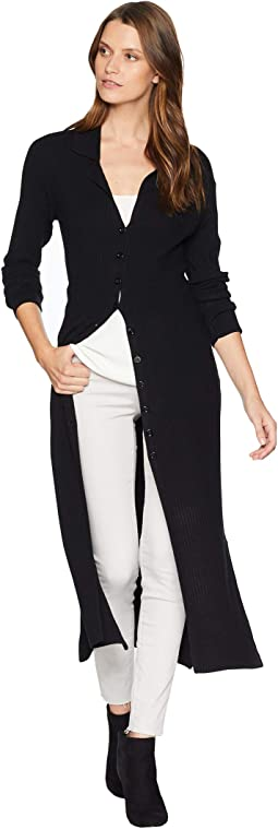 Collared Long Sleeve Front Button Placket Sweater Duster