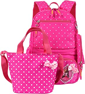 (Rose red) - Fanci 3Pcs Teenager Girls Princess Printing Kids Backpack Polka Dot Bowknot Primary School Book Bag with Pencil Case