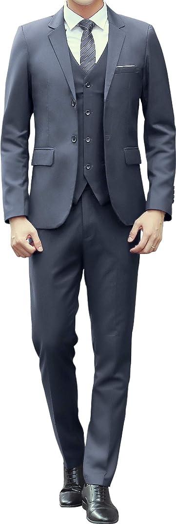 挑発する解読する本を読むAiLoKoSo カジュアルスーツ リクルートスーツ メンズ シングル 2つボタン ノータック スリーピース ジャケット スラックス ベスト 上下セットアップ ウォッシャブル パーティー 礼服 卒業式 結婚式 就職 入学式 春秋