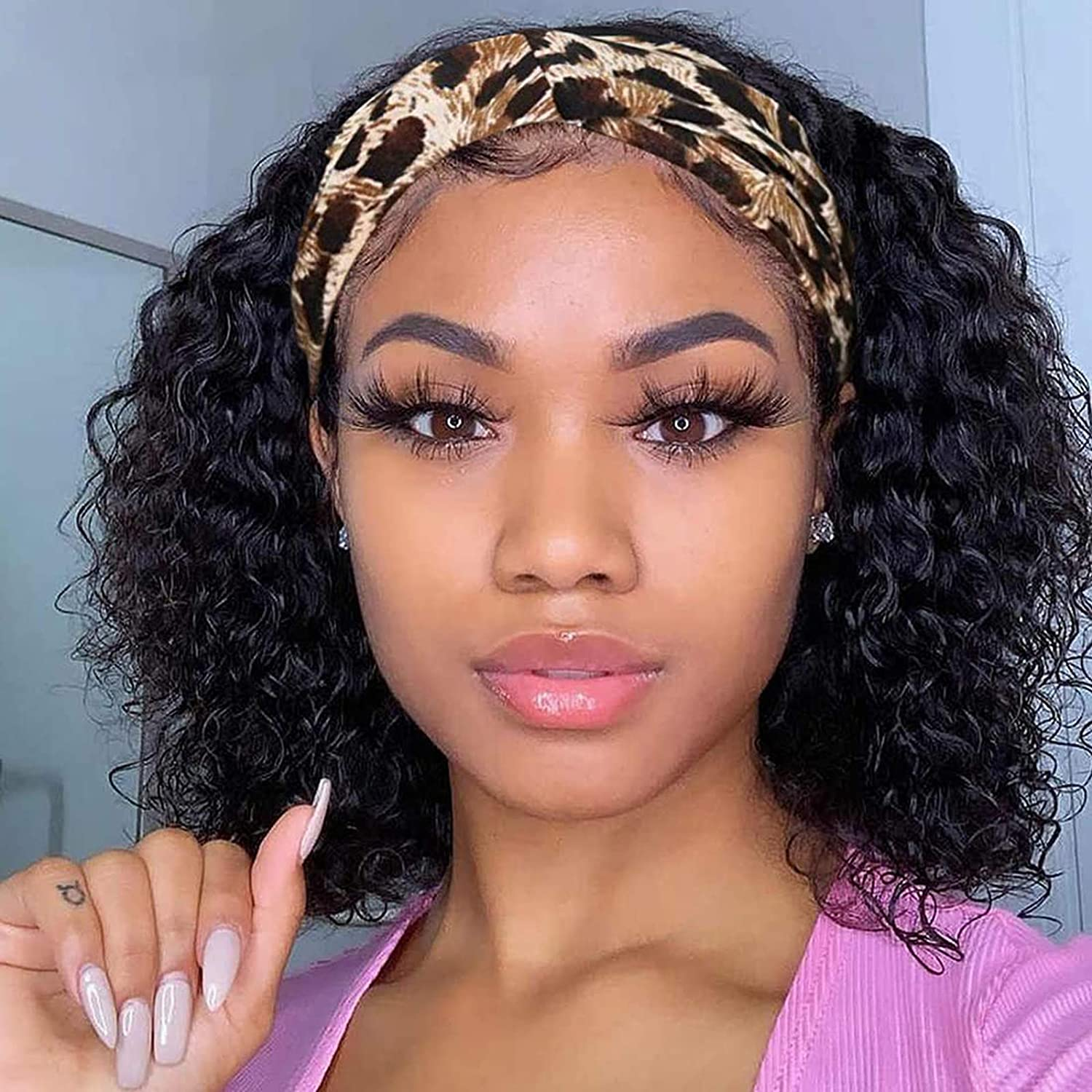 Human Hair Bob Wig Curly Headband None Women for Lace Topics Spring new work one after another on TV Black