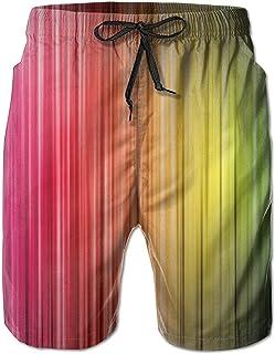 Lixinli Men's Rainbow Stripes Quick Dry Beach Shorts