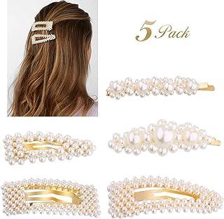 5 Piezas Perlas Pinzas para el Cabello, Perlas Clips de Pelo Decorativos Hechos a niñas, bodas el Cabello Horquillas para Niñas y Mujeres