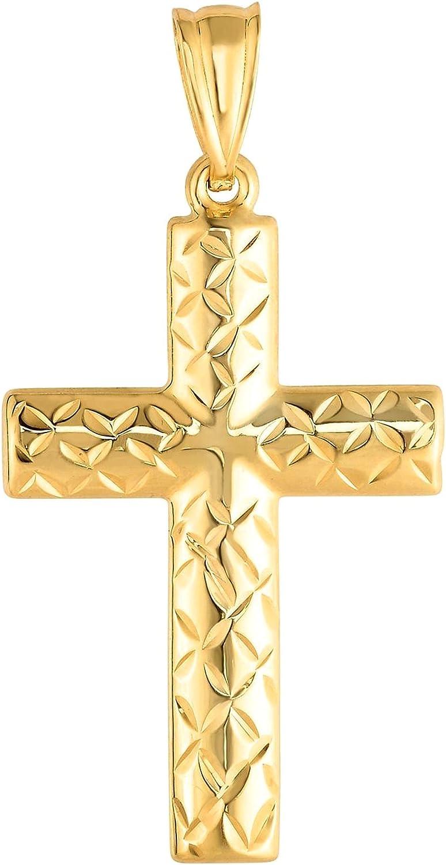 14k Yellow Gold Shiny Diamond Cut depot Pendant Max 72% OFF Cross 15x30 Fancy mm