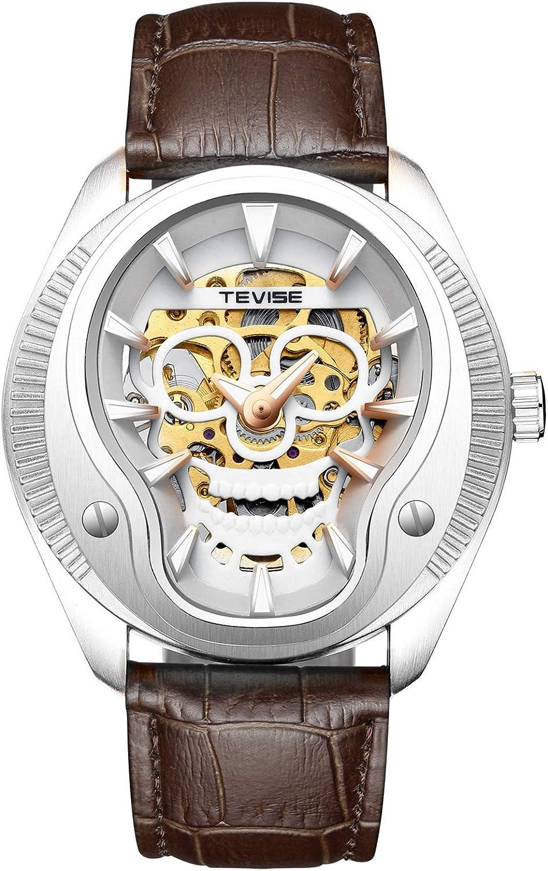 ZHANGZZ Hermoso Reloj TEVISE, Reloj de Hombre TEVISE Reloj multifunción automático Reloj de Hombre mecánico. Cinturón de Hombre.